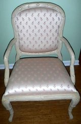 Chabby Chic Off white Wood Upholstered Arm Chair ~Wide Seat Accent in Joliet, Illinois