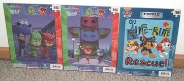 Lot of 3 NEW 16 Piece Puzzles Lot PJ Masks Paw Patrol Catboy Gekko Owlette Chase Marshall in Morris, Illinois