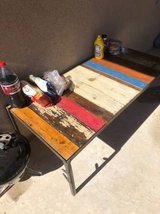 STUNNING solid wood rustic colorful table with metal legs in El Paso, Texas
