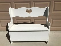 Small Solid Wood White Bench with Storage in Fairfield, California
