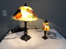 set of 2, glynda turley signed hand painted bronze tiffany/handel style lamps in Tinley Park, Illinois
