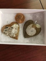 2 new Ammonite fossil heart shaped pendants in Camp Pendleton, California
