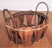 Unique Vintage Large Hand Made Wicker Stick Basket Wood Decor Storage Handles in Aurora, Illinois