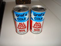 Graf's Cola Steel Soda Cans 1975 All Star Game County Stadium Brewers in Brookfield, Wisconsin