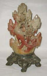 VINTAGE ORIENTAL JADE & SOAPSTONE CARVED FLORAL 3D ACCENT PIECE in Lockport, Illinois