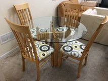 5pc Round Glass,Maplewood & Printed Upholstered Dining Set in Joliet, Illinois