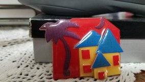 """1 """"HOUSE PINS by Lucinda"""" - Yellow House w/ Blue Roof plus Palm Tree and Moon in Spring, Texas"""