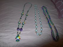 3 MARDI GRAS Long Bead Necklaces!  Purple, Green, Gold w/ Court Jester in Spring, Texas