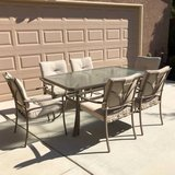 7-Pc Glass Top Patio Set with Cushions in Travis AFB, California