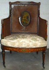 Antique French Cane Chair on Caster Wheels ~Needs Repair in Orland Park, Illinois