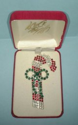 rhinestone candy cane pin or brooch in lord taylor presentation box in Chicago, Illinois