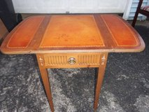 VINTAGE ALL WOOD DROP LEAF SIDE TABLE WITH LEATHER INLAYS in Chicago, Illinois