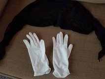 black scarf/tie and stretchy white gloves in Camp Pendleton, California