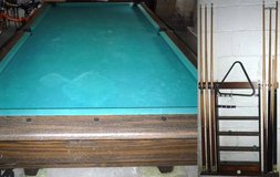 Vintage Pool Table + Wall Mount Cue Rack in Orland Park, Illinois