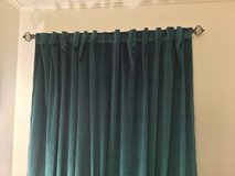 4 teal velvet drapes curtains rod pocket panels in Schaumburg, Illinois