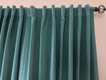 Light teal aqua blue green velvet rod pocket panels drapes curtains in Schaumburg, Illinois