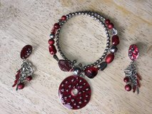 Red & Silver Beaded Wrap Around Necklace & Earrings in Westmont, Illinois