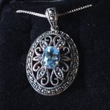 Marcasite and Blue Topaz Oval Pendant Sterling Silver Necklace Vintage Elegance in Westmont, Illinois