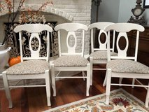 **  4 WHITE WOOD & UPHOLSTERED CHAIRS :  VERY NICE !! Made in Canada in Glendale Heights, Illinois