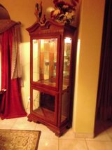 Mahogany Curio Cabinet  with a light in Las Cruces, New Mexico