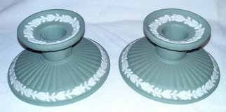 Pair Sage Green Wedgwood Candleholders in Bartlett, Illinois