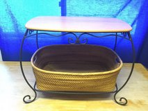 Vintage Longaberger Wrought Iron End Table/Nightstand/Foyer table with Wood top in Naperville, Illinois