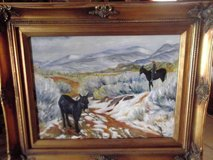 """Oil painting with donkeys in a beautiful ornate frame  22"""" W X 18""""H in Las Cruces, New Mexico"""