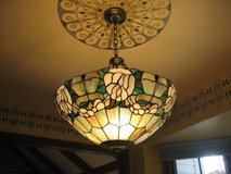 Tiffany Style Stained Glass Shade and Hanging Light Fixture in Oswego, Illinois