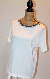 J.Crew Dressed Up Tee - Beige with Beautiful Beaded Detail at Neckline, X-Small in Bolingbrook, Illinois