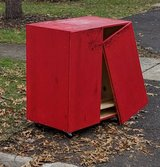 Ikea ivar cabinet painted red in St. Charles, Illinois