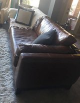 Large Full-Grain Leather Couch, Rich Brown in Kingwood, Texas