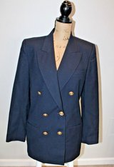 Vintage Talbots Navy Double Breasted Wool Blazer, Gold Buttons, Lined, Size 10 in Plainfield, Illinois