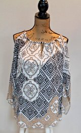 Chico's Graphic Print Blouse, Cold Shoulder, Handkerchief Sleeves, Chico's Size 1 in Westmont, Illinois