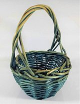 Blue Wicker Woven Basket Small Vintage Rustic Patina Shabby Country in Aurora, Illinois