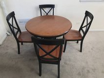 5pc Two Tone Cherry & Black Round Pedestal Dining Table Set in Westmont, Illinois