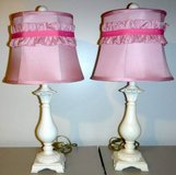 White Table / Desk Lamp w/ Pink Ruffle Shade ~Set of 2 in Lockport, Illinois