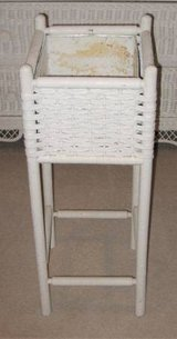 White Wicker Plant Stand - Square in Plainfield, Illinois