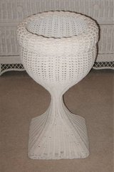 White Wicker Plant Stand - Round in Plainfield, Illinois