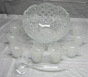 Vintage 20-Piece Clear Cut Glass Punch Bowl Set in Plainfield, Illinois