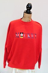 Mickey Mouse Embroidered Red Crewneck Sweatshirt, Mickey & Co, XXL in St. Charles, Illinois