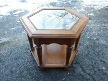 HEXAGON END TABLE WITH GLASS TOP & SHELF in Chicago, Illinois