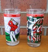 2 Vintage Coca Cola Classic Golf Drinking Glasses Indiana Glass Co in Aurora, Illinois