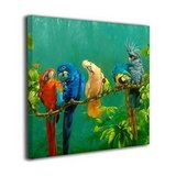 """Colorful Parrots On A Tree Gallery Wrapped Canvas Print    20"""" x 16"""" in Aurora, Illinois"""