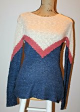 Pink Rose Lightweight Knit Sweater in Navy, Terra Cotta & Natural, Large in Westmont, Illinois
