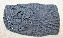 CC Exclusives Hand Made Gray Knit Headwrap w/Knit Flower/Sequins, Adjustable in Westmont, Illinois