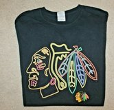 Chicago Blackhawks  Black Tee, Gildan Heavy Cotton, Preshrunk, X-Large in Joliet, Illinois