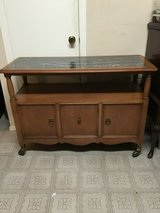 vintage mid century modern wood rolling bar cart, cabinet, tv stand/ cart in Houston, Texas