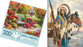 New! *Set of 2* 300 pc Puzzles ~Autumn Oasis & Indian Chief in Joliet, Illinois