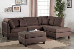 New! Chocolate Linen Sofa Sectional and Ottoman FREE DELIVERY in Camp Pendleton, California