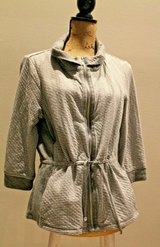 Chico's Collection Zip Front Knit Active Jacket, Gray/White Stripe & Polka Dot in Chicago, Illinois